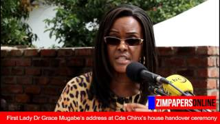 first lady dr grace mugabe speaks at cde chinx s house handover ceremony