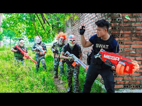 NERF WAR :Special Police  SWAT Warriors Nerf Guns Fight Attack bandits Mask Nerf Weapon