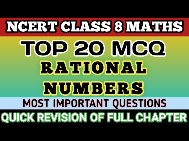Mcq Rational Numbers Class 8 Youtube