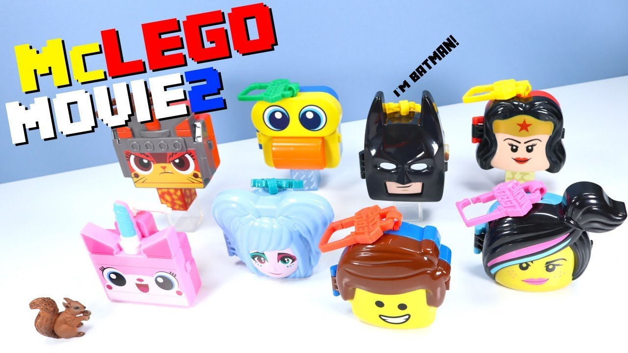 The LEGO Movie 2 McDonalds Happy Meal Toy Collection Head Clips 2019