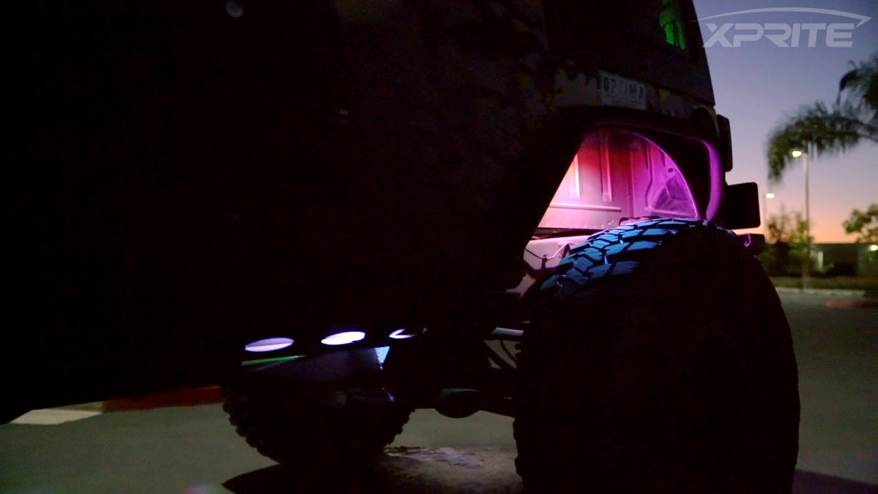 Xprite 8PCS RGB LED Multi-Color Rock Lights For Underglow Off Road