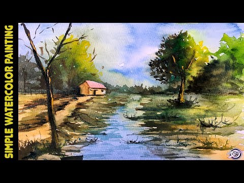 Easy Watercolor Landscape Painting For Beginners By Art Candy | How To Paint With Watercolor