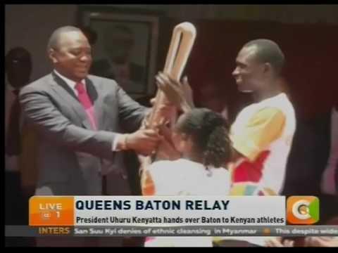 President Kenyatta hands over Queen's Baton to Kenyan athletes