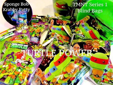 TMNT Blind Bags GIVEAWAY Series 1 Sponge Bob Krabby Patty Candy and TMNT Collectors Keyrings