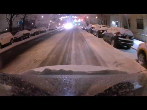 Driving Downtown - First Snow of 2016/2017 - Elmhurst to Long Island City - New York City NY USA