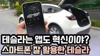 테슬라는 앱도 혁신이야? 테슬라 모델Y 앱 자세히 보기! 스마트폰 활용 - Tesla app