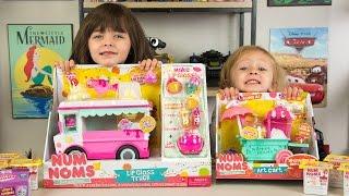 HUGE Num Noms Surprise Eggs Opening Lip Gloss Truck & Art Cart Toys for Girls Kinder Playtime