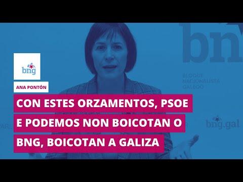 Ana Pontón: «Con estes orzamentos, PSOE e PODEMOS non boicotan o BNG, boicotan a Galiza»