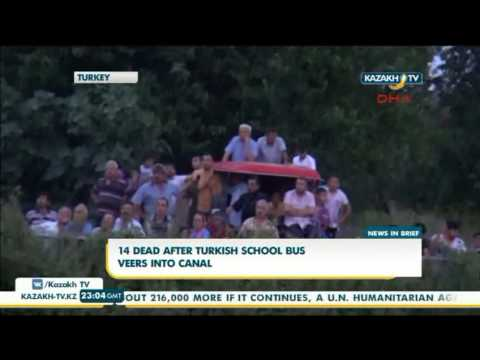 14 dead after turkish school bus veers into canal - Kazakh TV