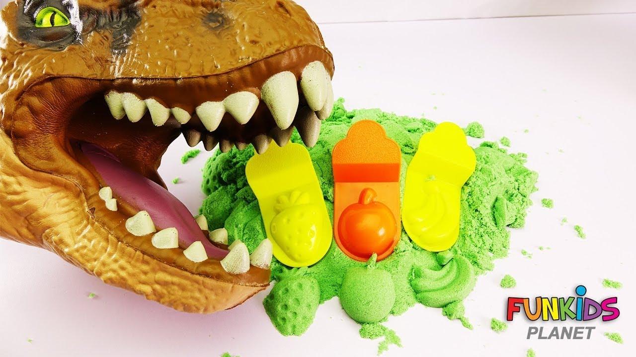 Download Ƙungiyar Koyarwa don Kids - Kinetic Sand Dinosaur Fruit Toy Surprise Eggs Play Doh Toys