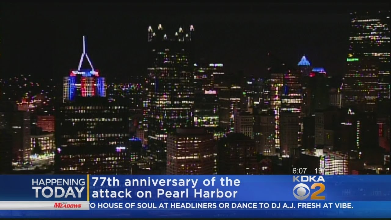 Pittsburgh Skyline Lit Up In Red White Blue For Pearl Harbor