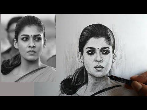 Nayanthara pencil drawing video - YouTube