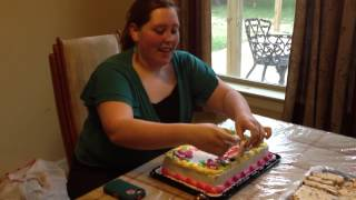 Kristen Blowing out her 18th Birthday Candles