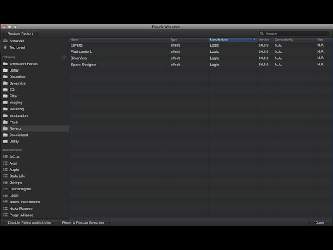 Logic Pro X 10 1 - Plugin Manager (Organize your AudioUnits)