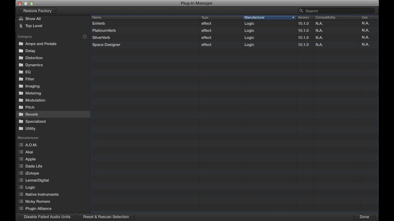 Logic Pro X 10 1 - Plugin Manager (Organize your AudioUnits)