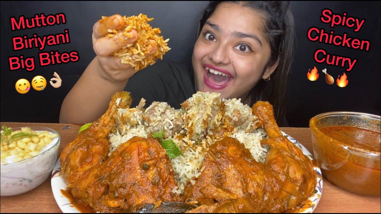 WHITE MUTTON BIRYANI WITH SPICY CHICKEN LEG CURRY, RAITA AND GRAVY | BIG BITES | FOOD EATING VIDEOS