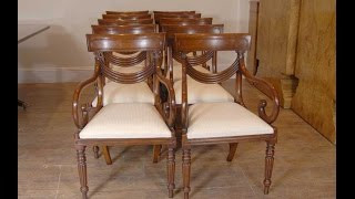 Set 10 Regency Swag Dining Chairs Arm Chair
