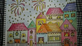 How to draw and colour diwali scene