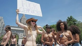 Naked Protest Group On The Streets Of New York