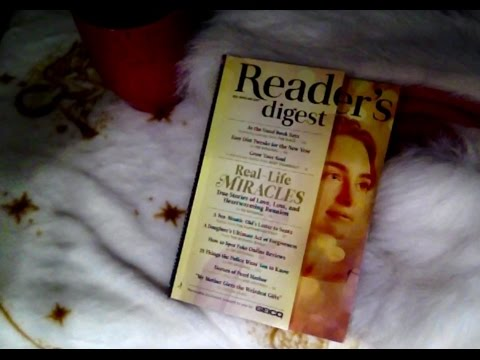 60 Mins Flipping Thru Reader's Digest ASMR, Soft Spoken, Whispers, Chewing Bubble Gum