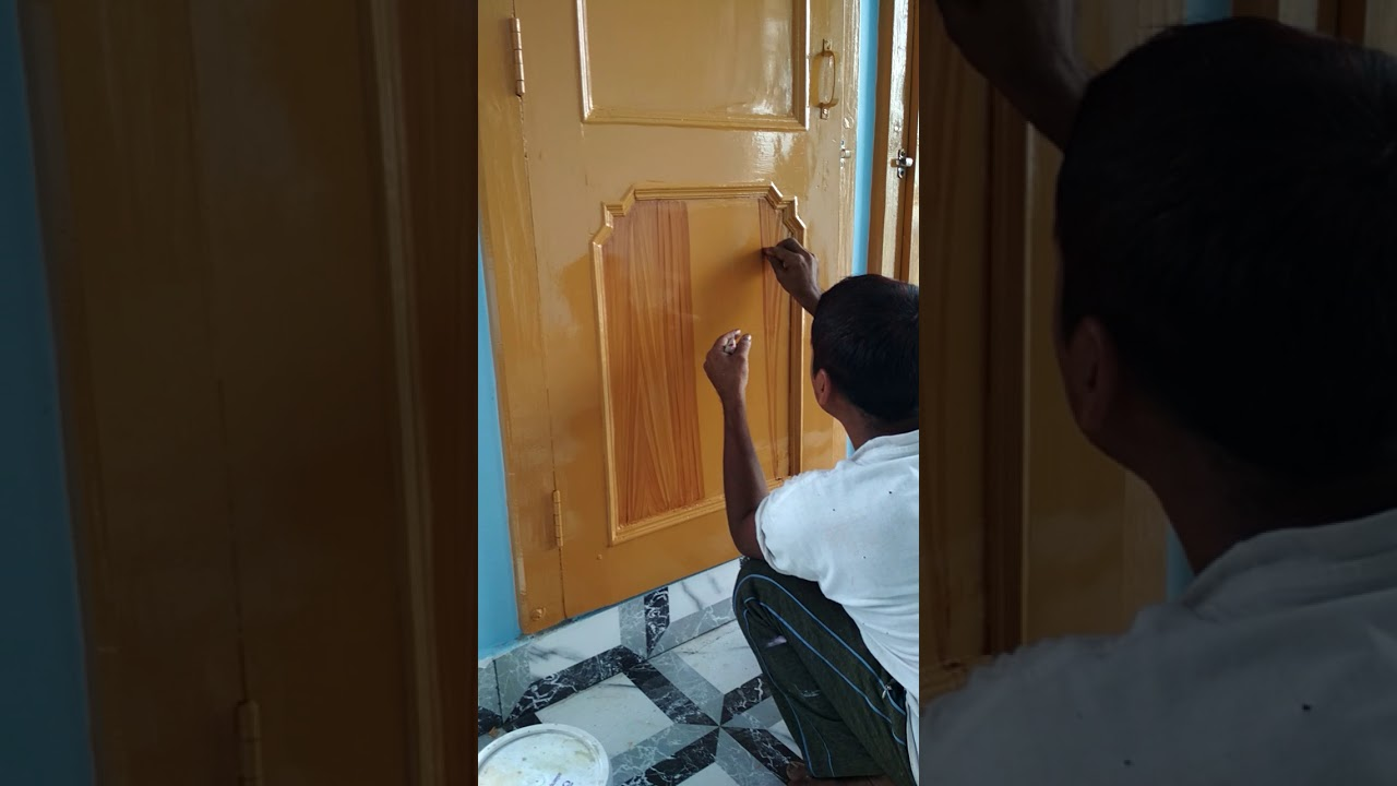 How to convert simple paint wood door into polish ....... - YouTube