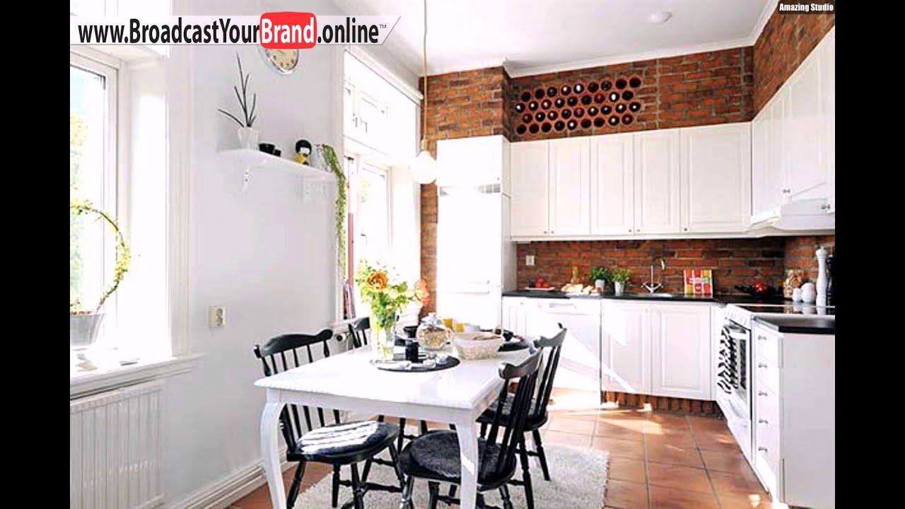 Weinregale Küche Eingebaut Backsteinwand Weiße Schränke - YouTube