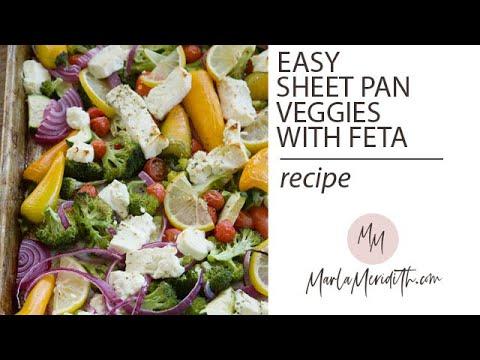 Easy Sheet Pan Roasted Veggies with Feta recipe