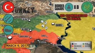 10 марта 2017. Военная обстановка в Сирии. Турки обстреляли САА возле Манбиджа. Русский перевод.