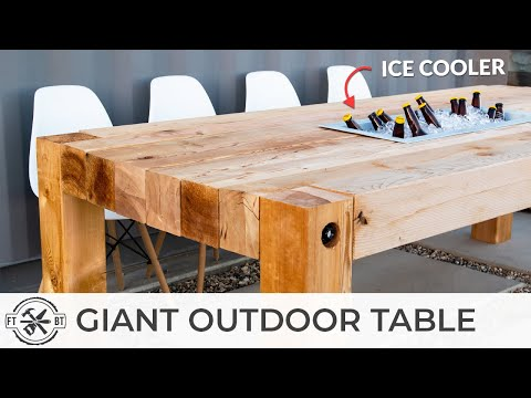 GIANT Outdoor Dining Table with Cooler | How to Woodworking