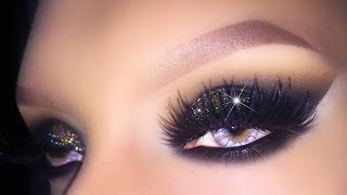 sexy black smokey eye with gold glitter holiday 2015 christmas new years eve makeup tutorial