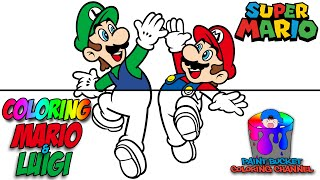Coloring Mario And Luigi Nintendo Super Mario Coloring Page For Kids To Learn Colors Youtube