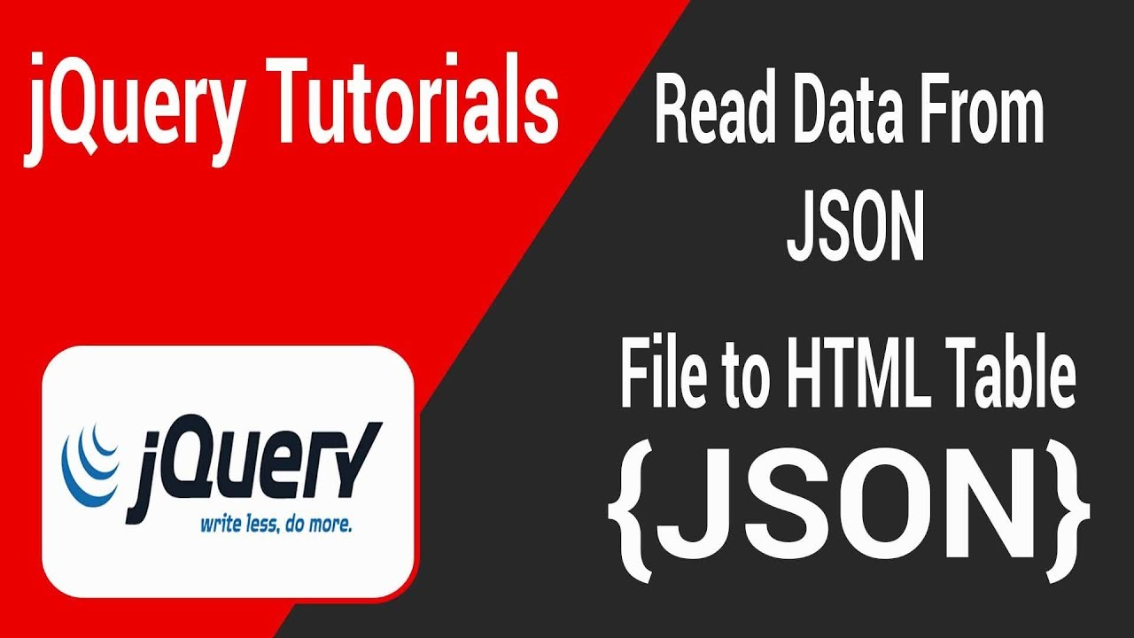 Read Data From JSON File to HTML Table