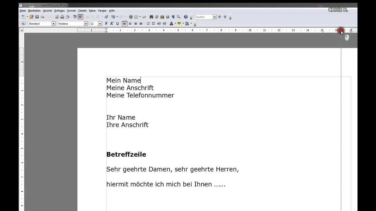 Einstieg In Open Office Writer Bewerbung Youtube