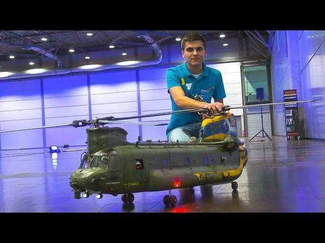 HUGE RC SCALE MODEL HELICOPTER BOEING-VERTOL CH-47 CHINOOK!! * INDOOR DEMO FLIGHT