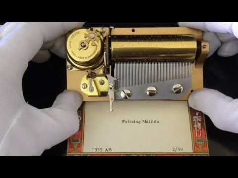 "Reuge 2 song 50 note musical movement for music box, plays ""Waltzing Matilda"" in 2 parts"