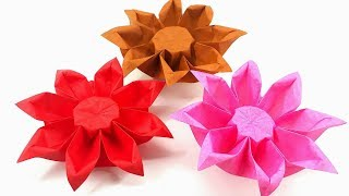 Origami Tutorial - How to fold an Easy Origami Flower gerbera
