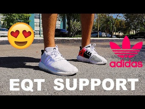 ADIDAS EQT SUPPORT 93/17 REVIEW+ON FOOT (white with boost)