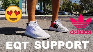 adidas eqt support 93 17 review on foot white with boost