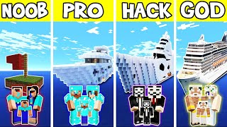 Minecraft: FAMILY LUXURY BOAT SHIP HOUSE BUILD CHALLENGE - NOOB vs PRO vs HACKER vs GOD in Minecraft