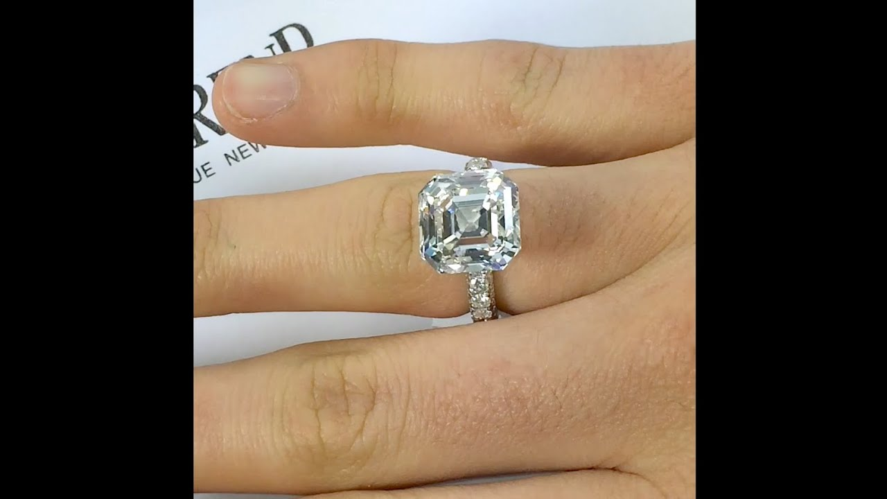 10 carat asscher cut diamond engagement ring youtube