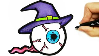 HOW TO DRAW HALLOWEEN EYES -  DESENHO DE HALLOWEEN - DIBUJO HALLOWEEN