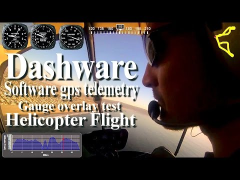 Dashware software gps telemetry gauge overlay test- R22 Helicopter solo flight