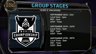 Season 4 World Championship in South Asia and Korea - dates, times, countries and schedules! #worlds