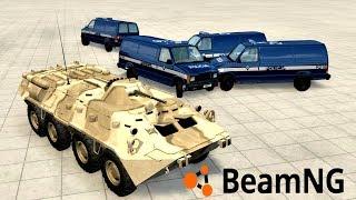 """4 POLICYJNE SAMOCHODY VS OPANCERZONY BTR! - BEAMNG.DRIVE """"DOMY TEŻ ZNISCZYŁEM!"""""""