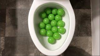 Will it Flush? - Coca Cola, Fanta, Mirinda Balloons and Green Plastic Balls