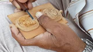 Sandal Wood Carving Artist Working At His Home In Churu, Rajasthan, India