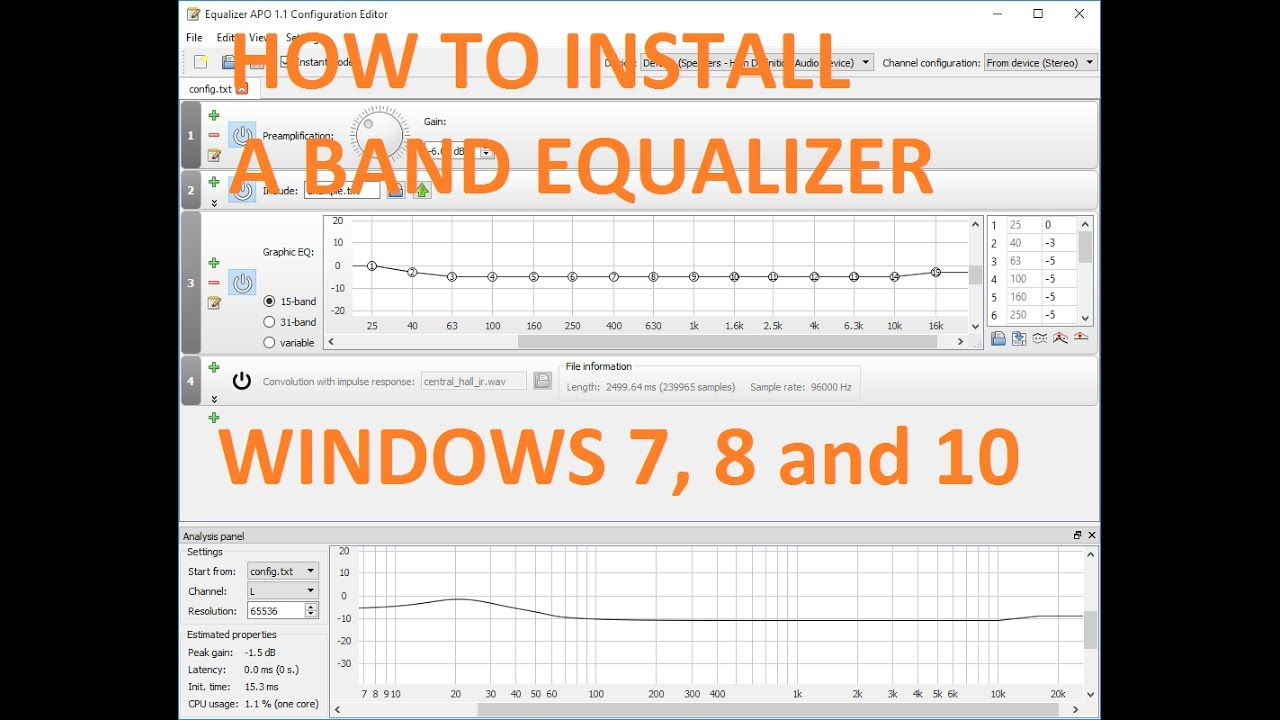 How to install a free 31-band equalizer (EQ) for Windows 7, 8, 10 - VERY  EASY!