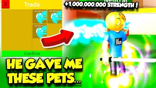 He Traded Me The RAREST PETS EVER In FIGHTING SIMULATOR AND I BECAME SO POWERFUL!! (Roblox)