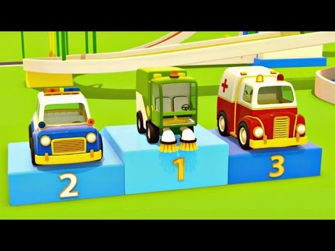 Helper cars. Car cartoon and animation for kids. Police car, fire truck, ambulance and sweeper.