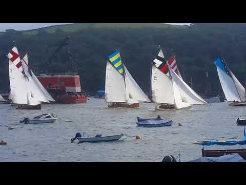 Fowey Regatta: Falmouth working boat harbour race start.